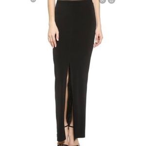 Alice + Olivia | Black Front Slit Maxi Skirt